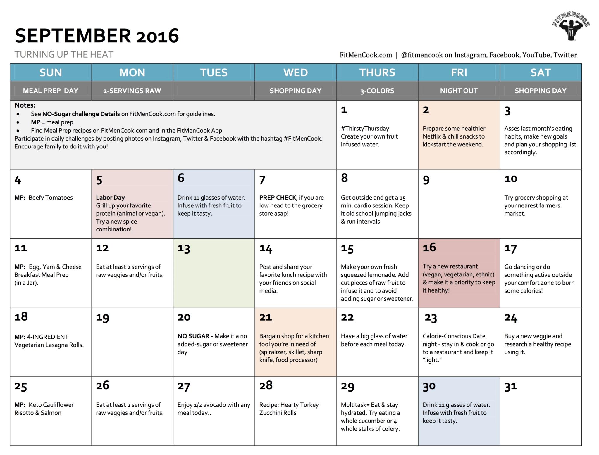 September 2016 Healthy Habits Calendar