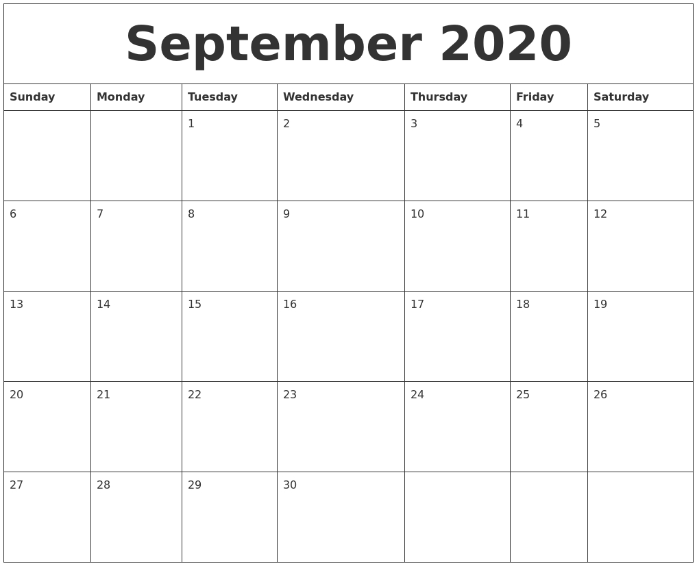 September 2020 Blank Monthly Calendar Template