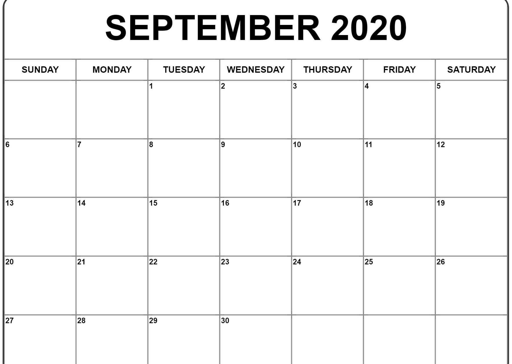 September 2020 Calendar | Calendar Template, Printable