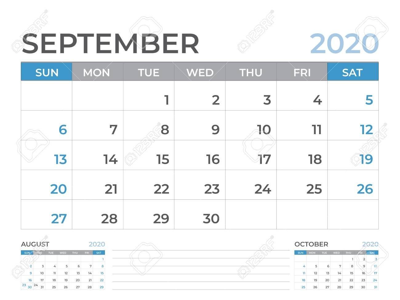 september 2020 calendar template, desk calendar layout size