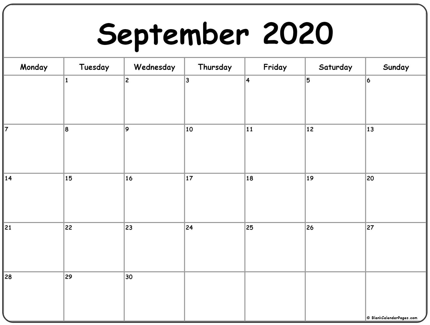 september 2020 monday calendar | monday to sunday