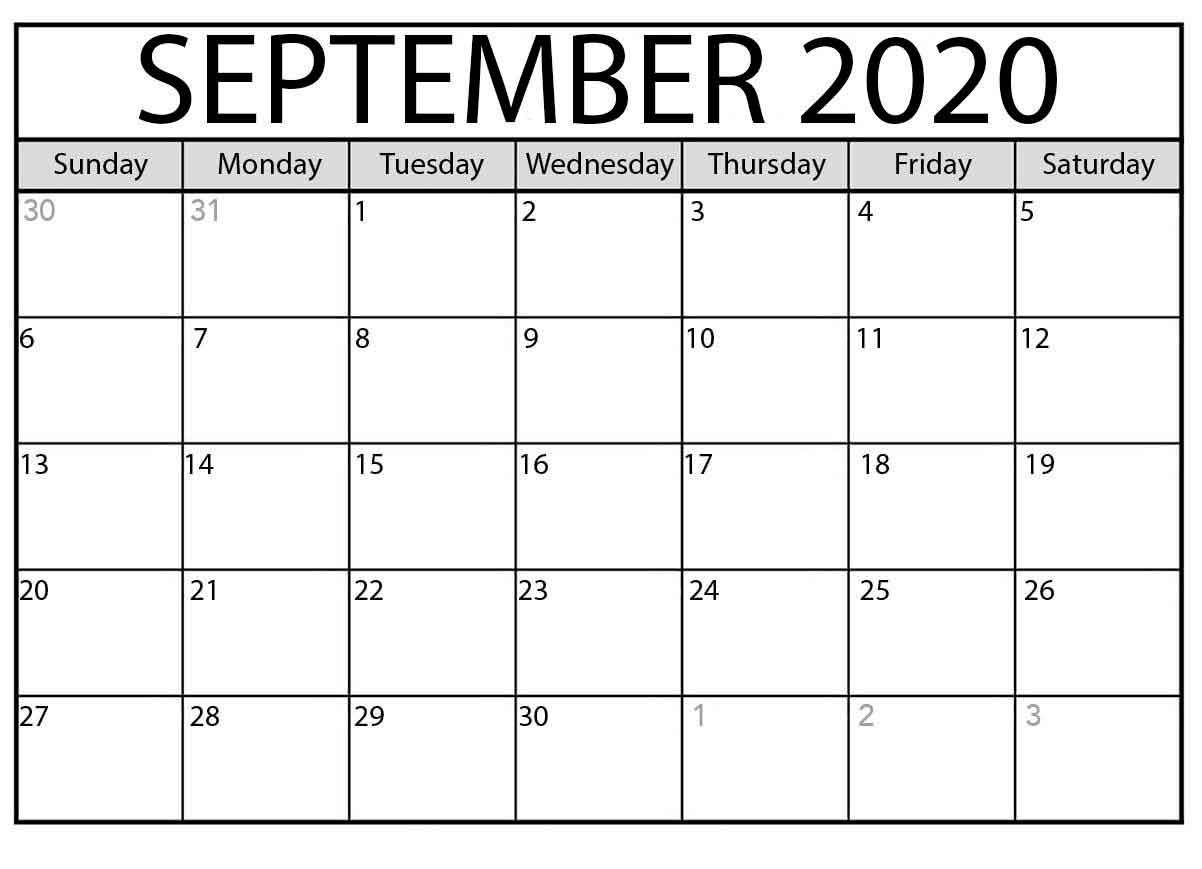 September 2020 Printable Monthly Calendar Printable