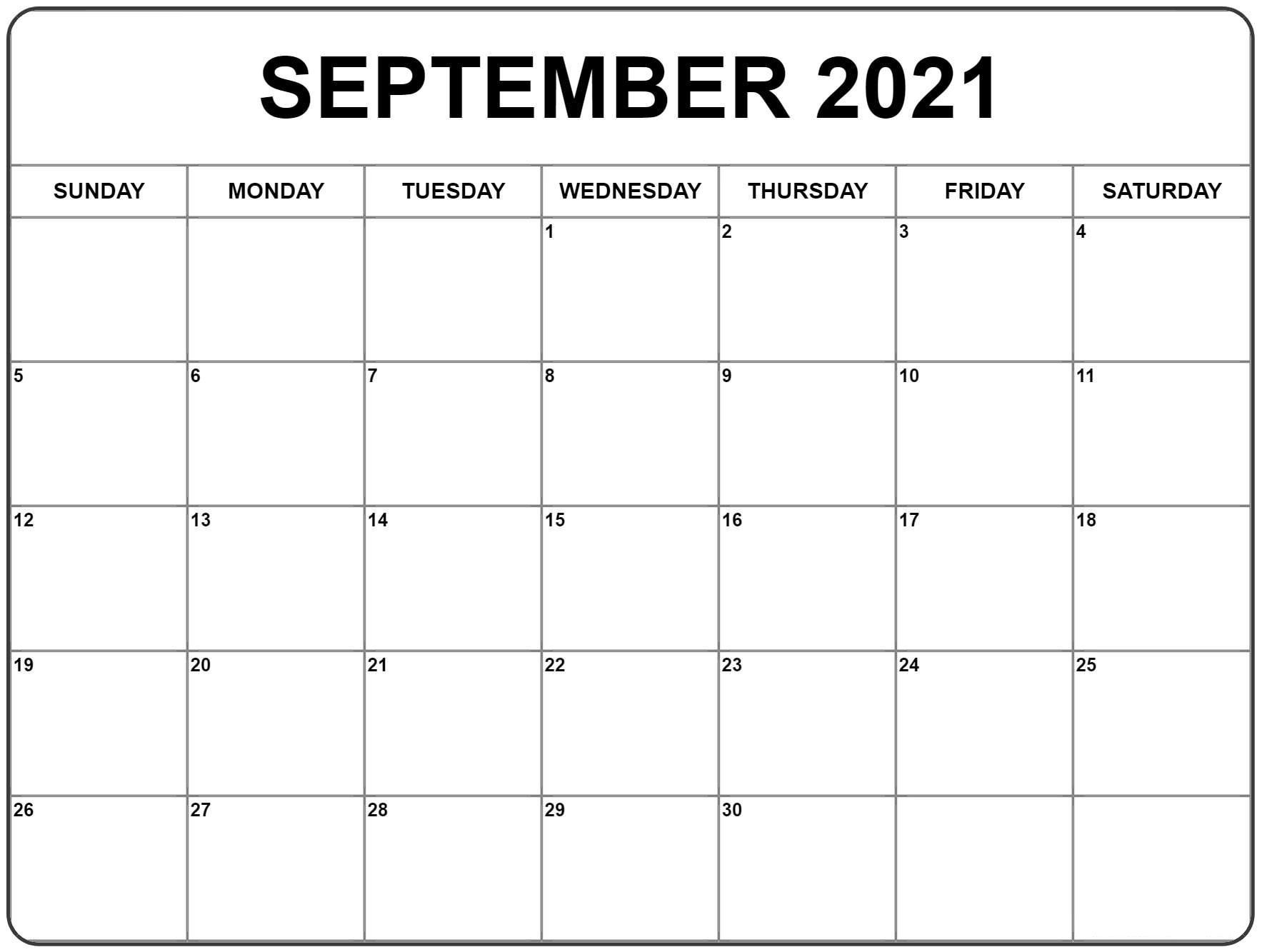 September 2021 Calendar | Calendar Printables, Monthly