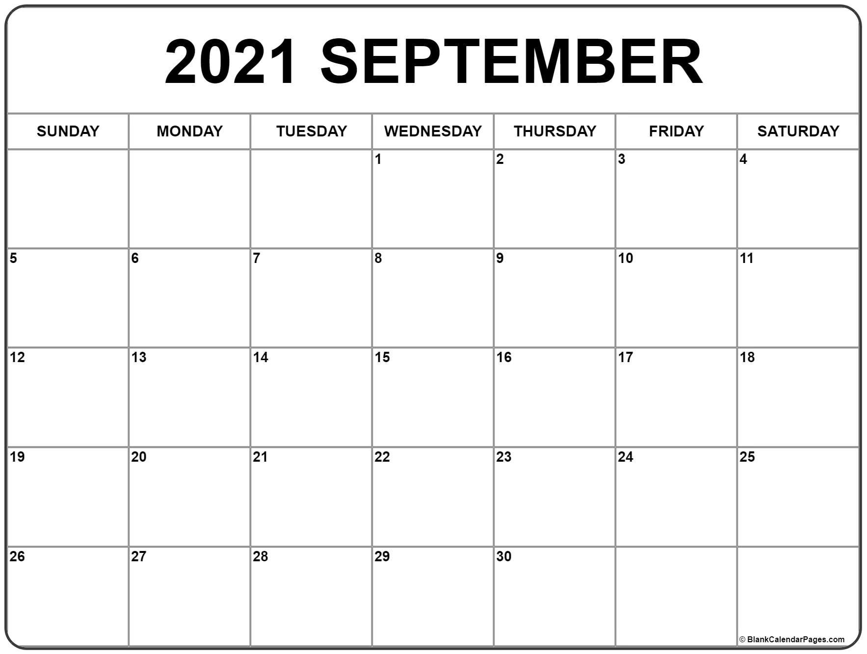 September 2021 Calendar | Free Printable Monthly Calendars