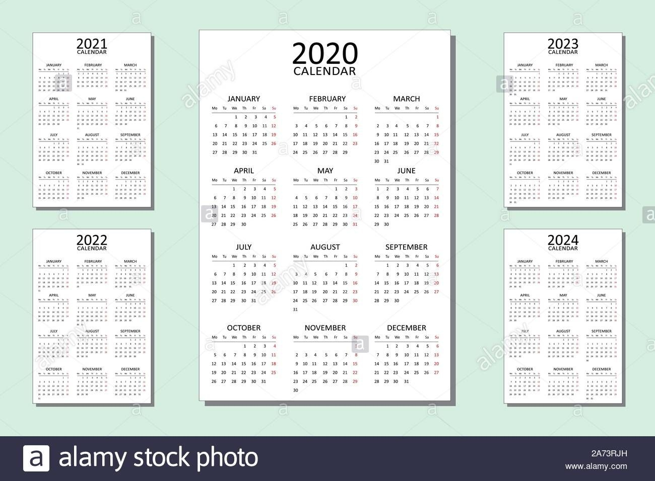 Set Of Calendar For 5 Year Vector Design Print Template For