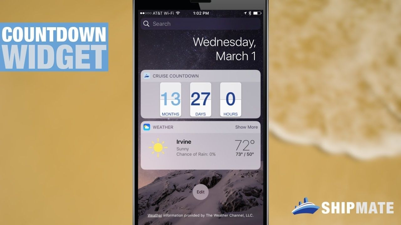 shipmate cruise countdown widget for ios and android