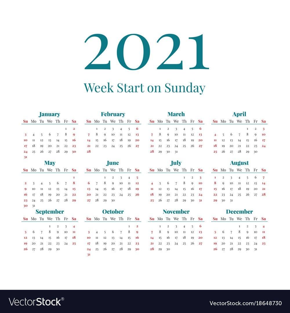 Simple 2021 Year Calendar