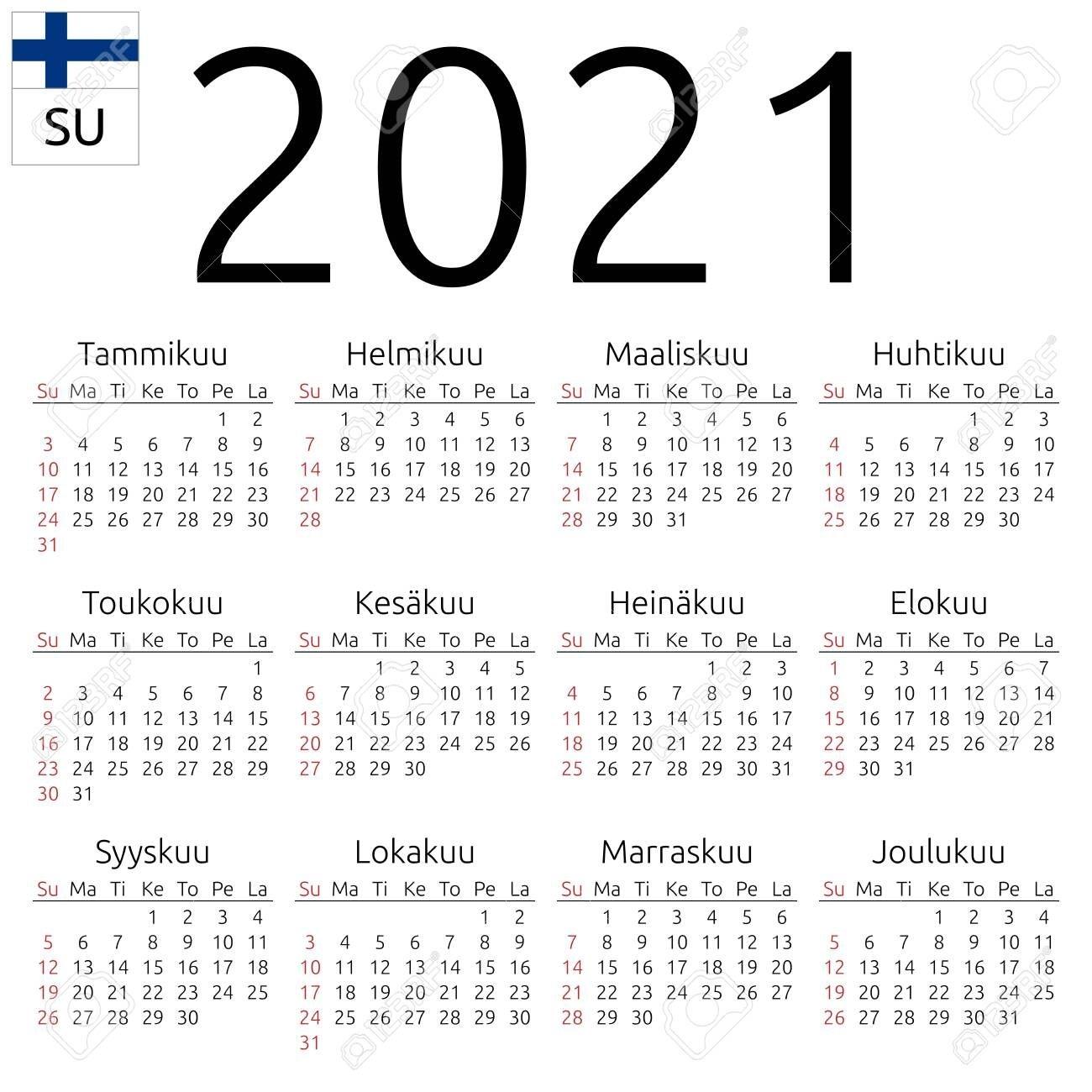 Simple Annual 2021 Year Wall Calendar Finnish Language Week