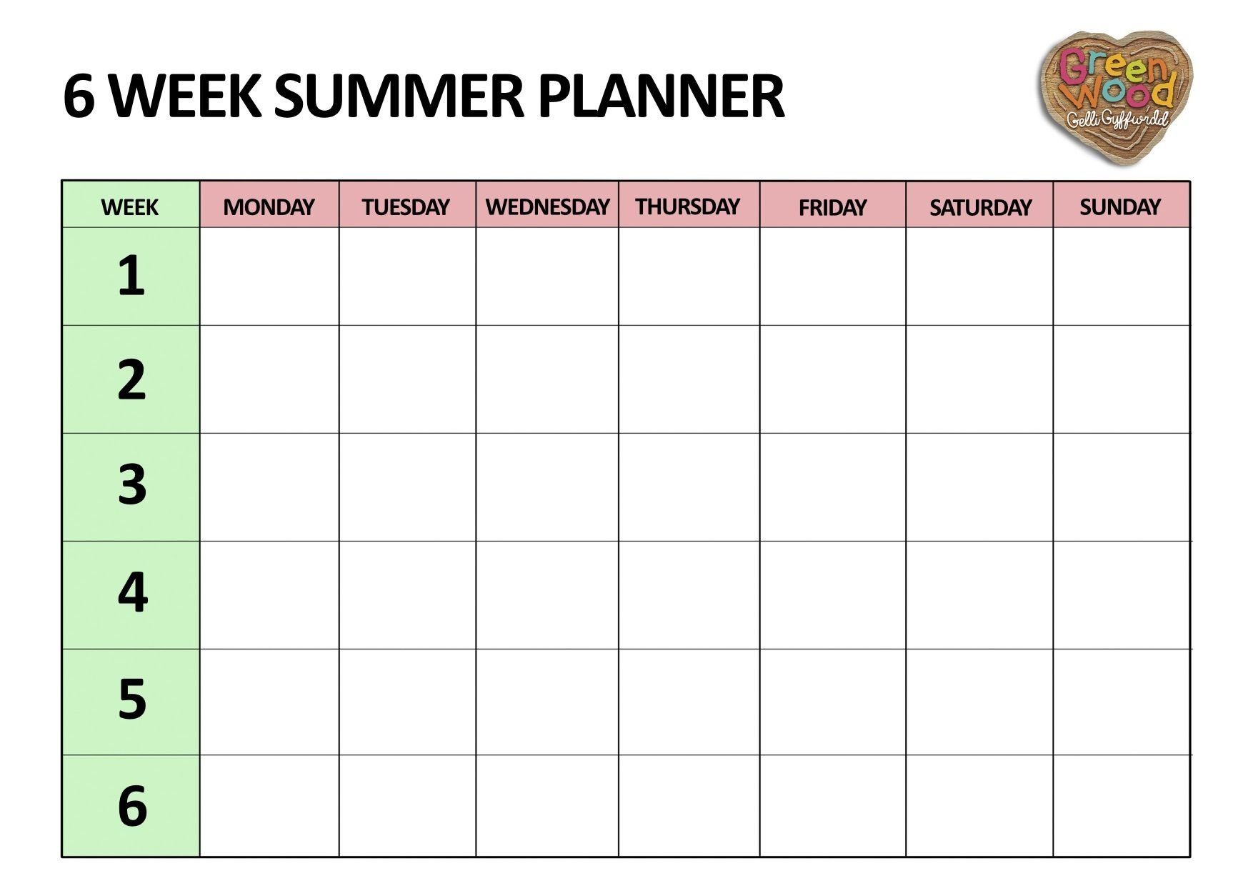 Six Week Summer Planner Five Little Doves