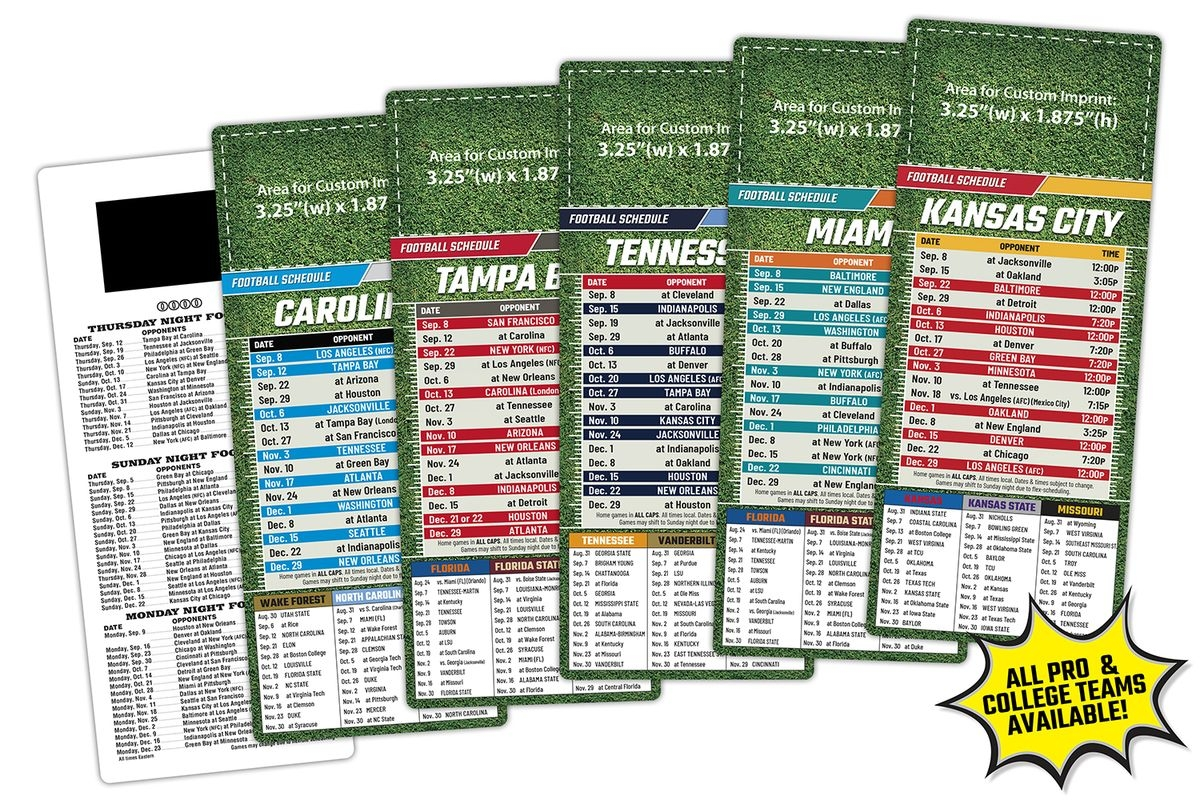 Sports Laminated Card 3 5×8 5 Football Schedules 14 Pt