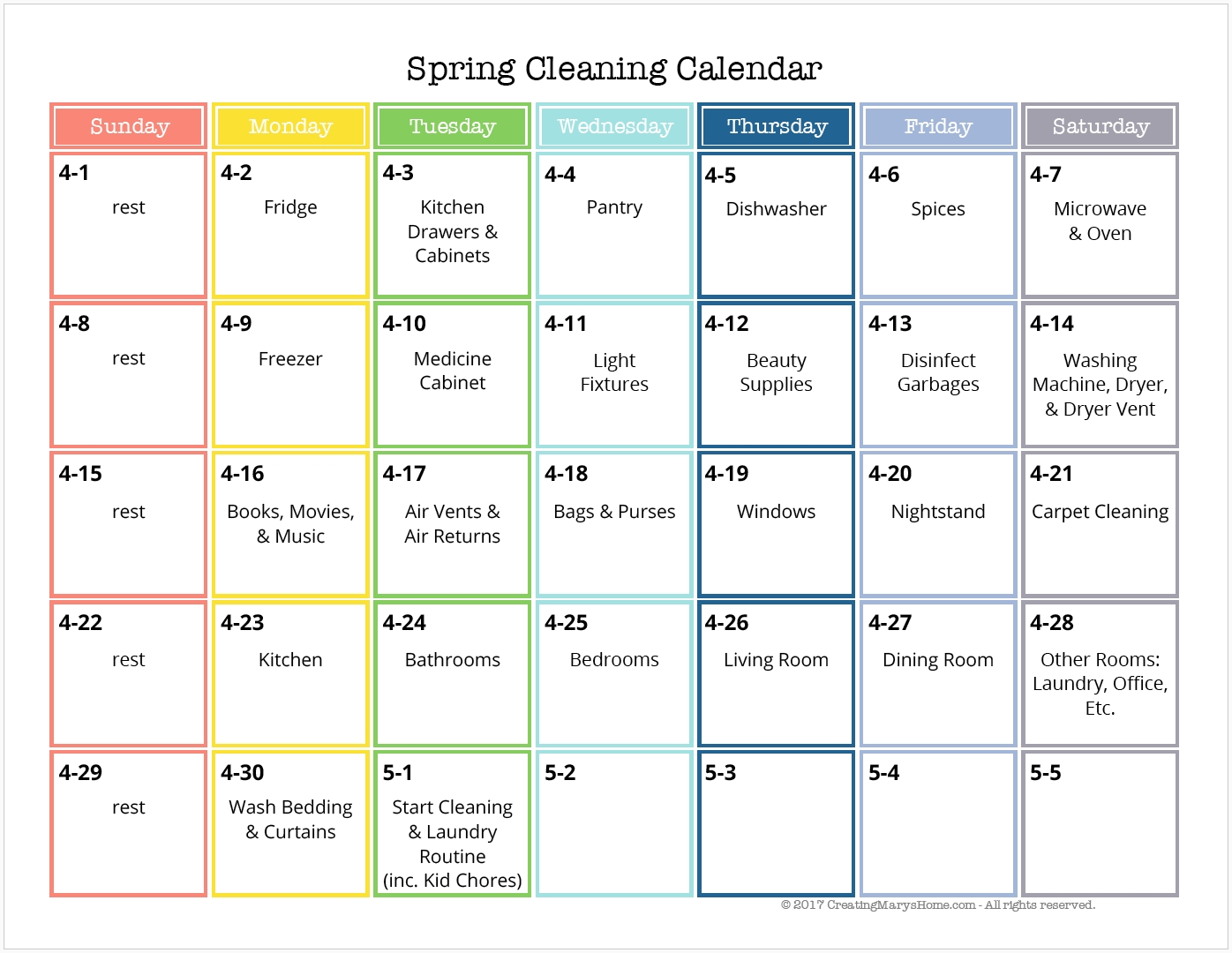 Spring Cleaning Bundle: Calendar, Checklists, And More