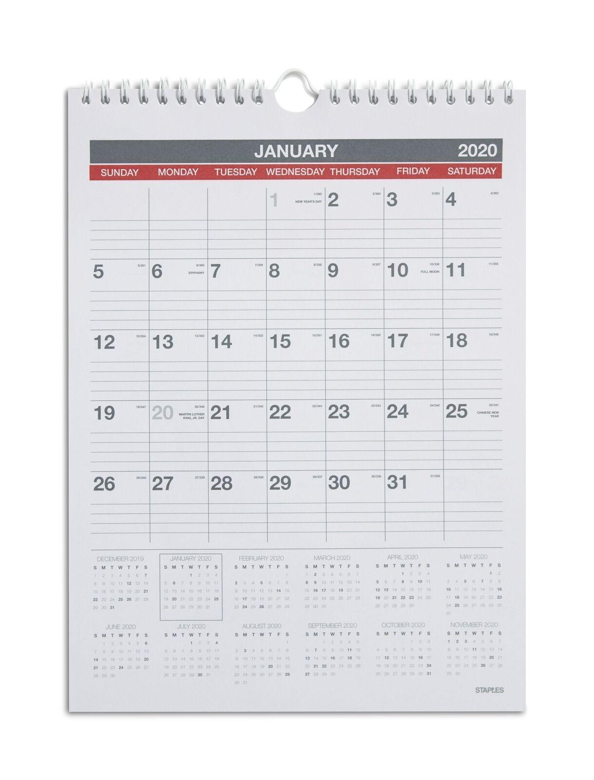 """staples 2020 8"""" x 11"""" monthly wall calendar 12 months 24374928 walmart"""