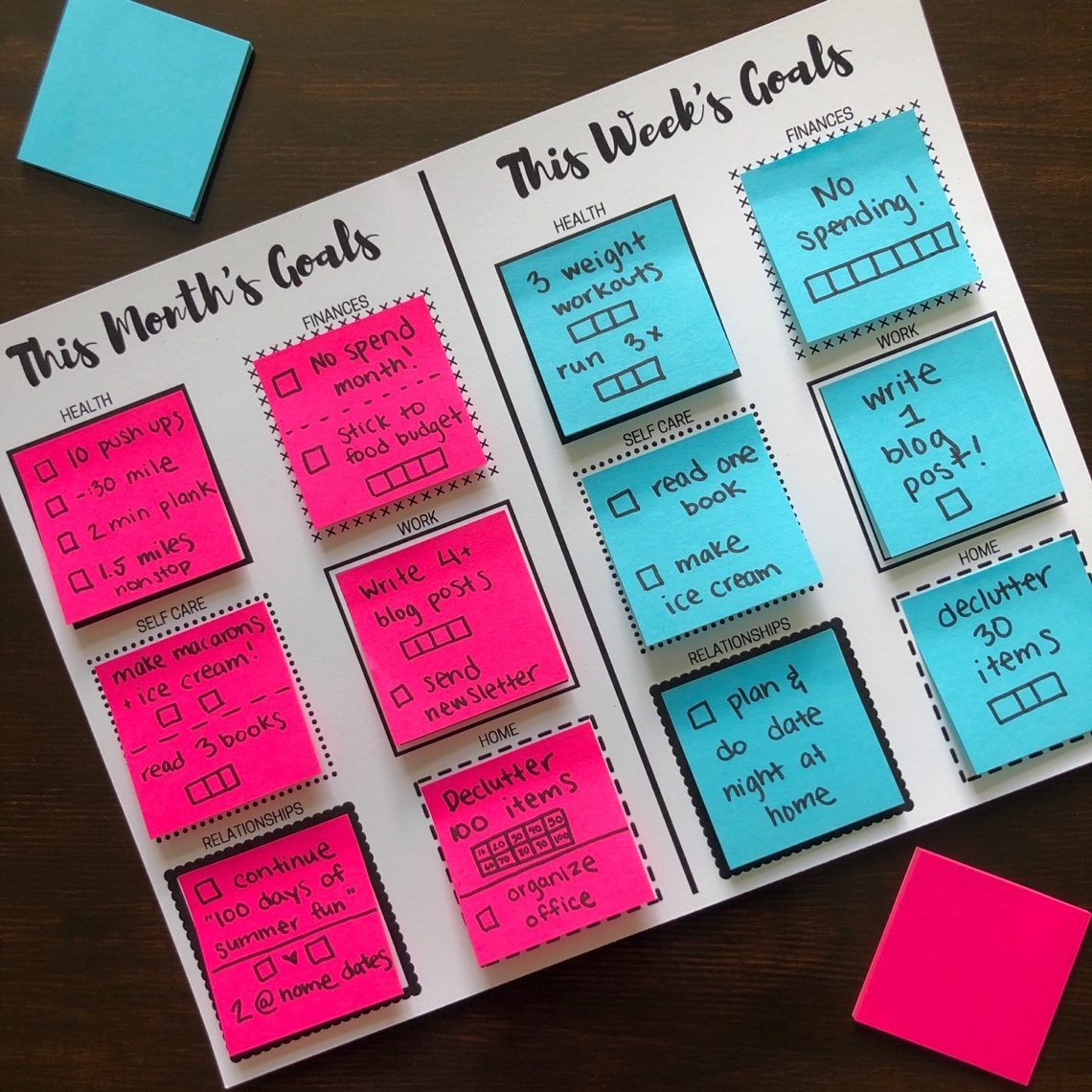 sticky note goal setting printables – let's live and learn