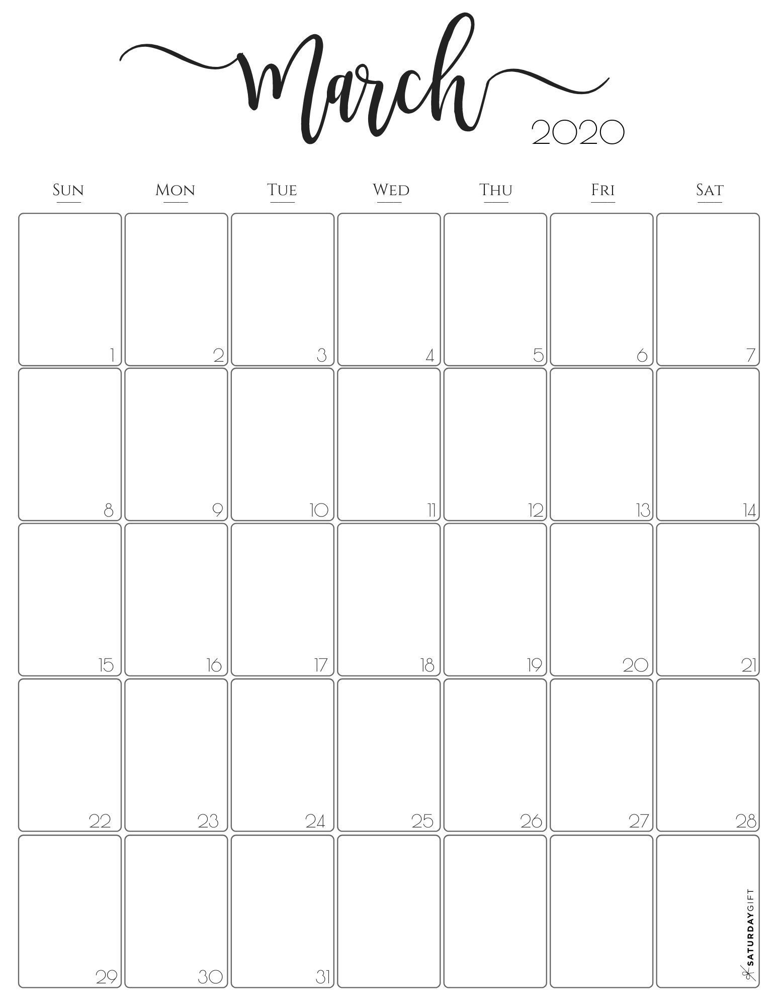Stylish Vertical 2020 Monthly Calendar {free Printables} In