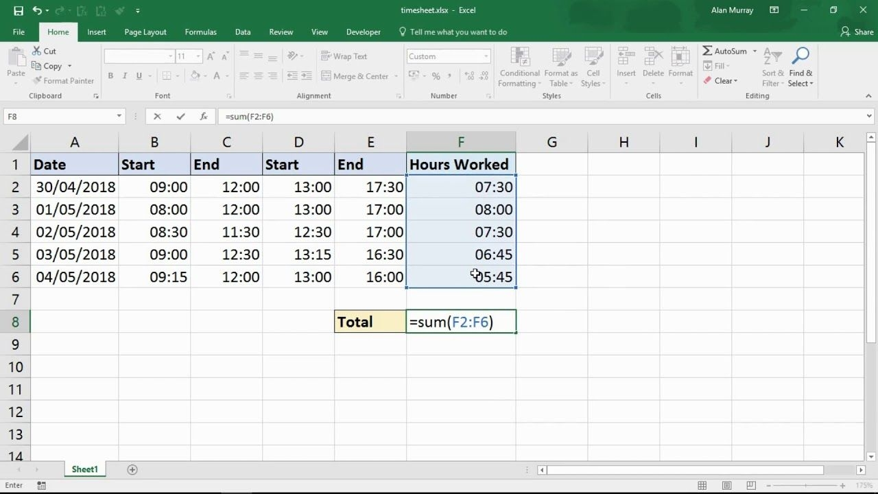 sum the hours over 24 hours excel trick