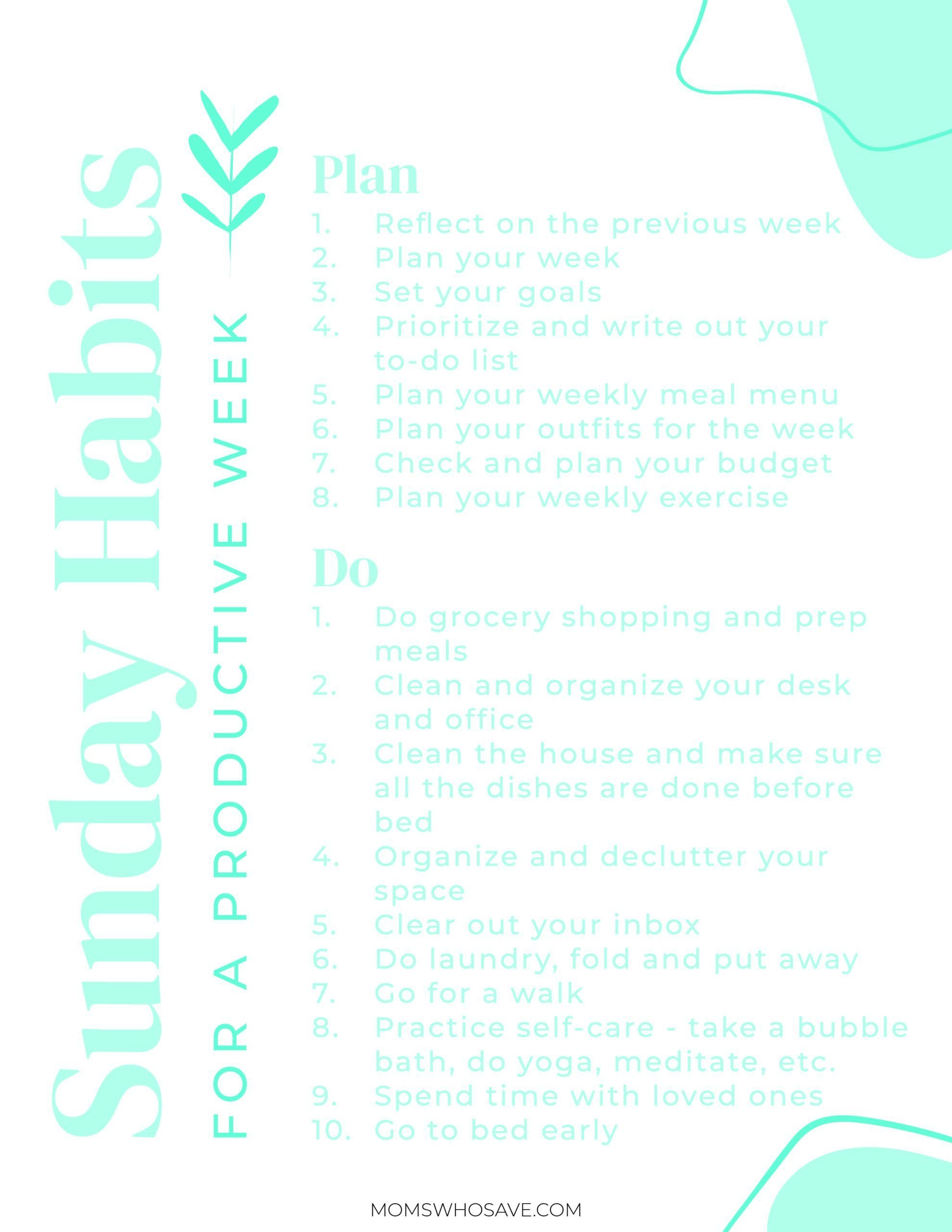 sunday habits for a productive week | momswhosave