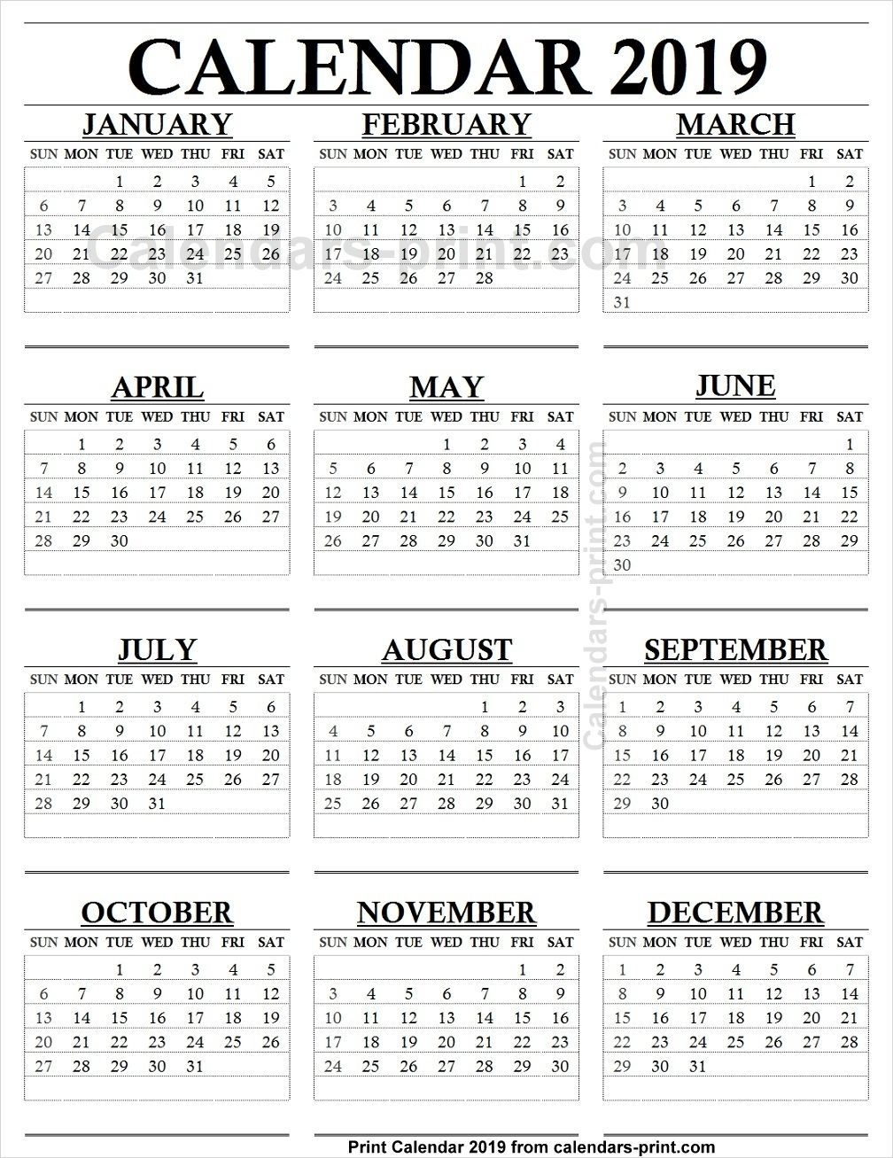 Take 2019 Blank Monthly Calendar Printable 12 Months