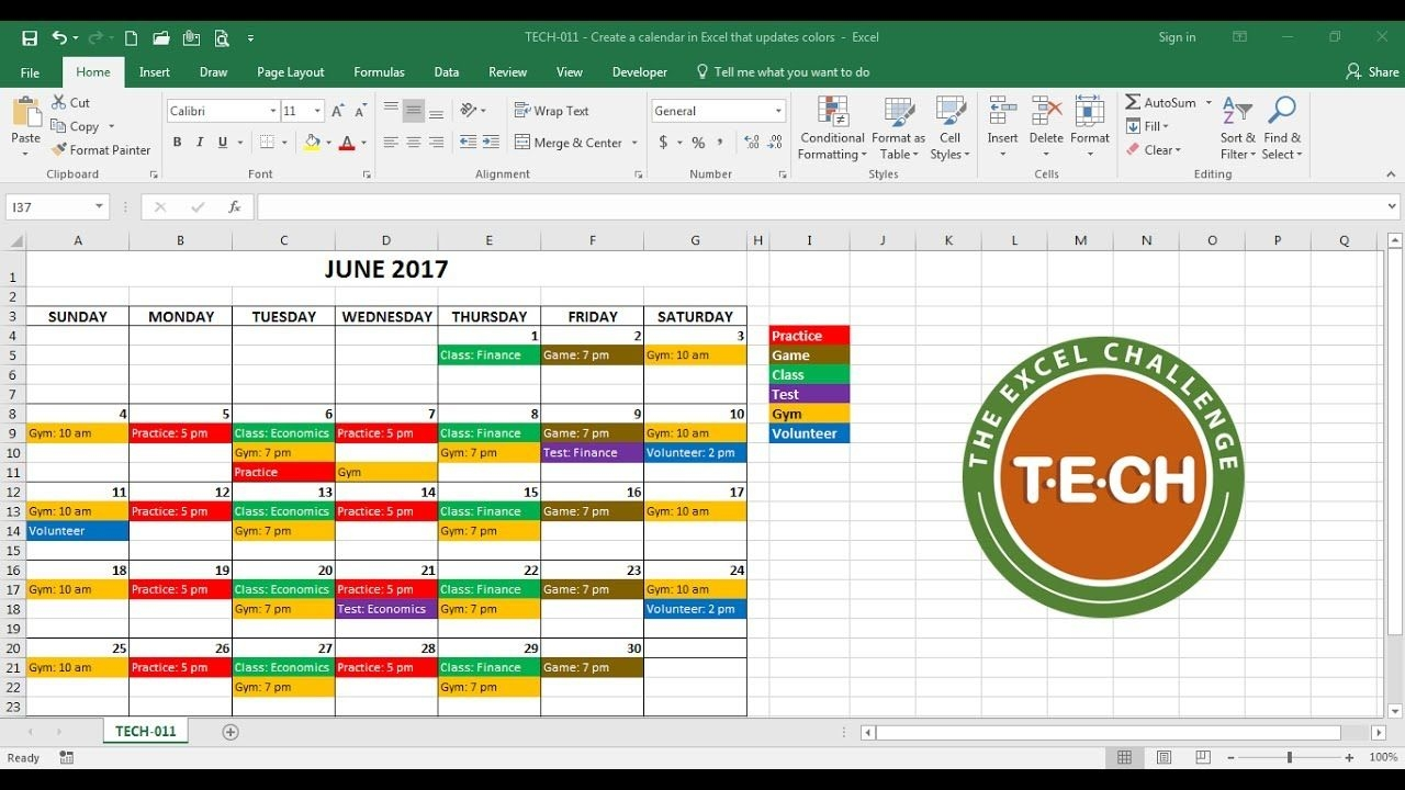 tech 011 create a calendar in excel that automatically updates colors event category