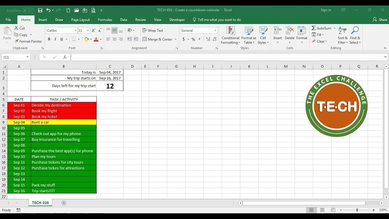tech 016 create a countdown calendar and combine it with conditional formatting for each task