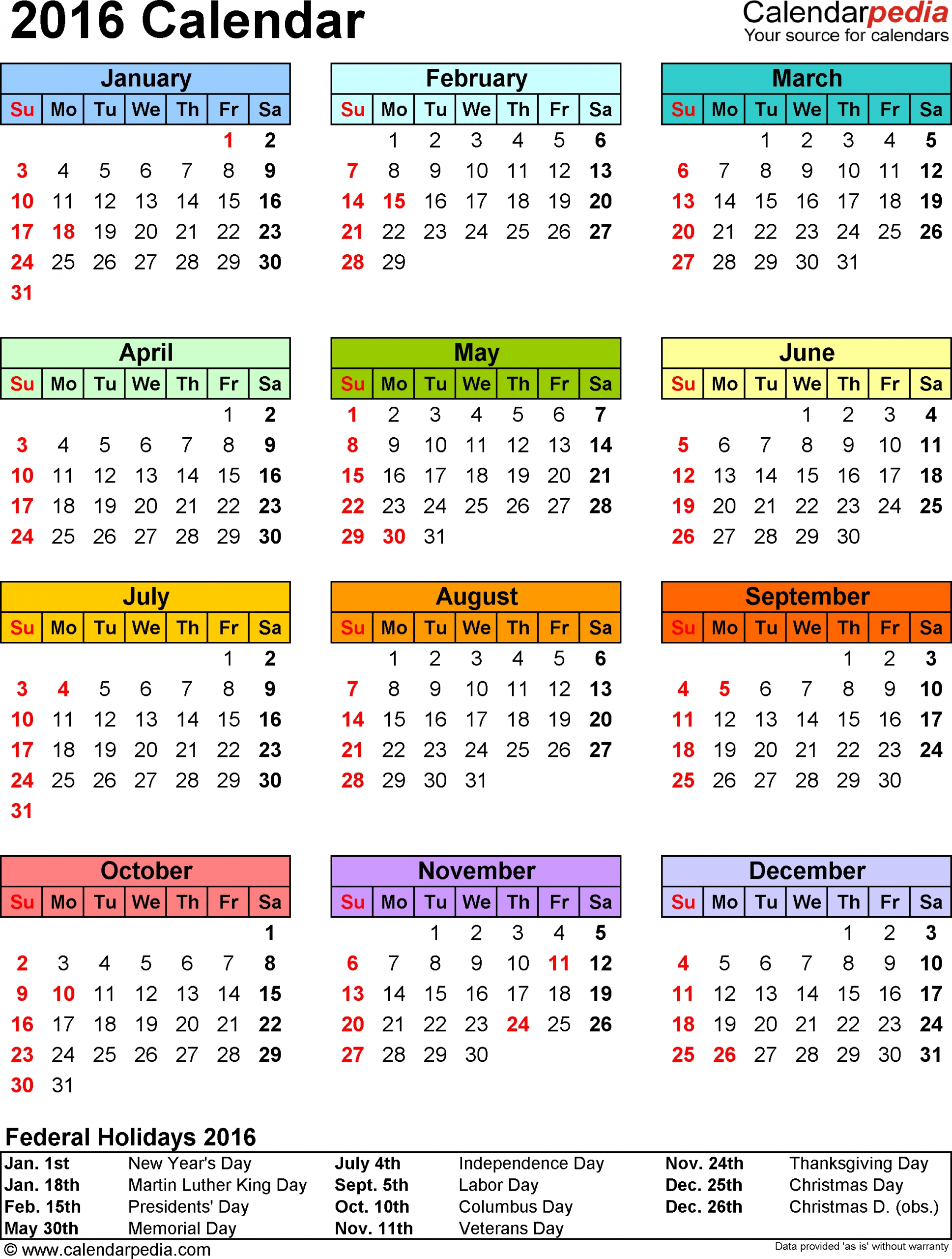 template 9: 2016 calendar for excel, year at a glance, 1