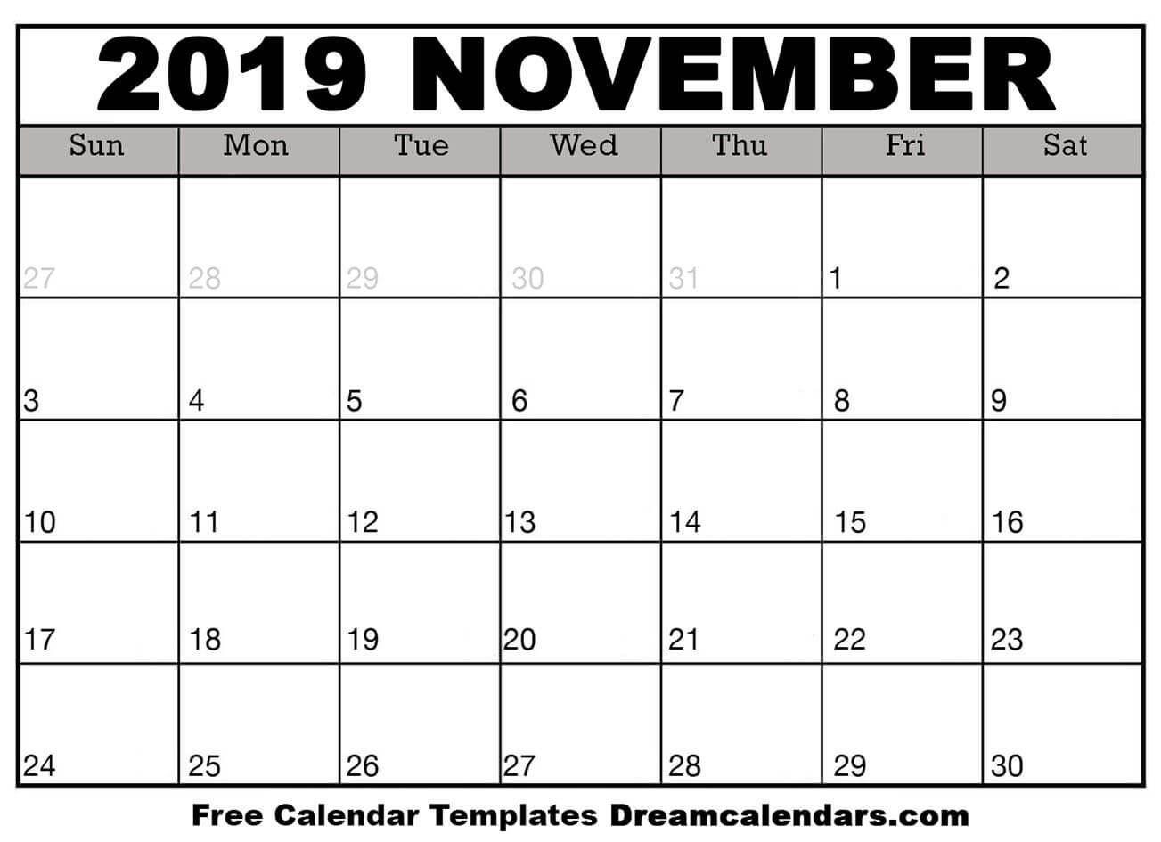 Template November Calendar 2019 Printable | Monthly Calendar