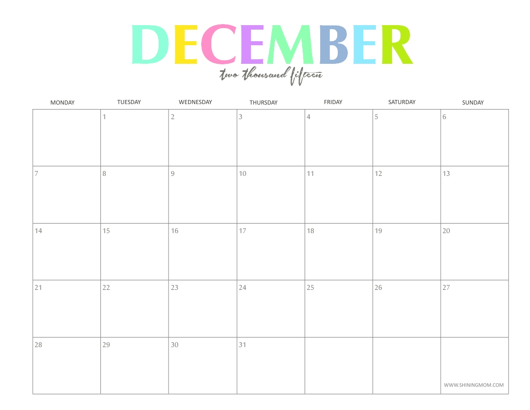 the colorful 2015 monthly calendarsshiningmom are here!