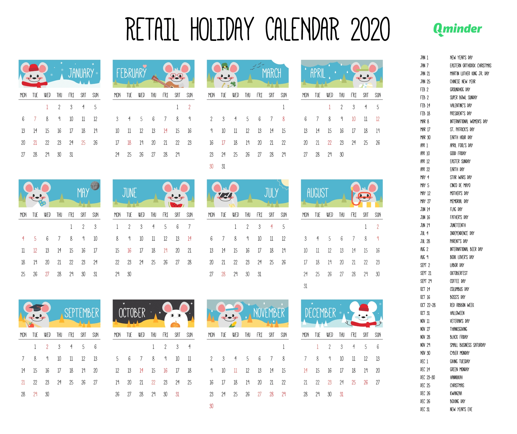 the ultimate 2020 retail holiday calendar [pdf] | qminder