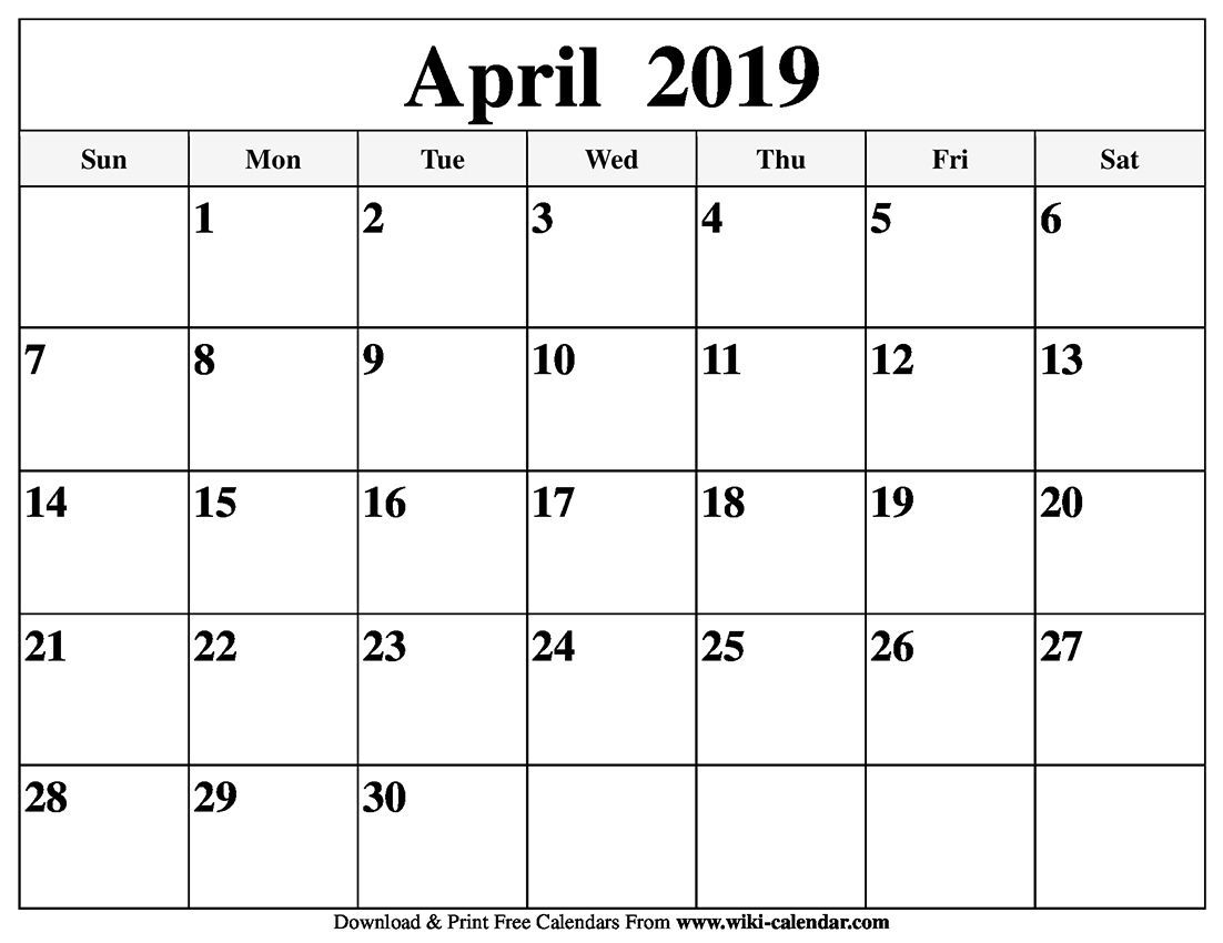top 20 free monthly april 2019 calendar pdf word notes page