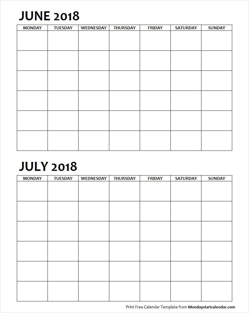 Two Month June July 2018 Calendar Blank In 2020 | Calendar