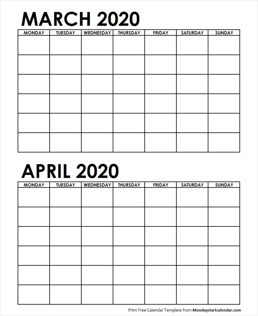Two Month March April 2020 Calendar Blank | Two Months Template