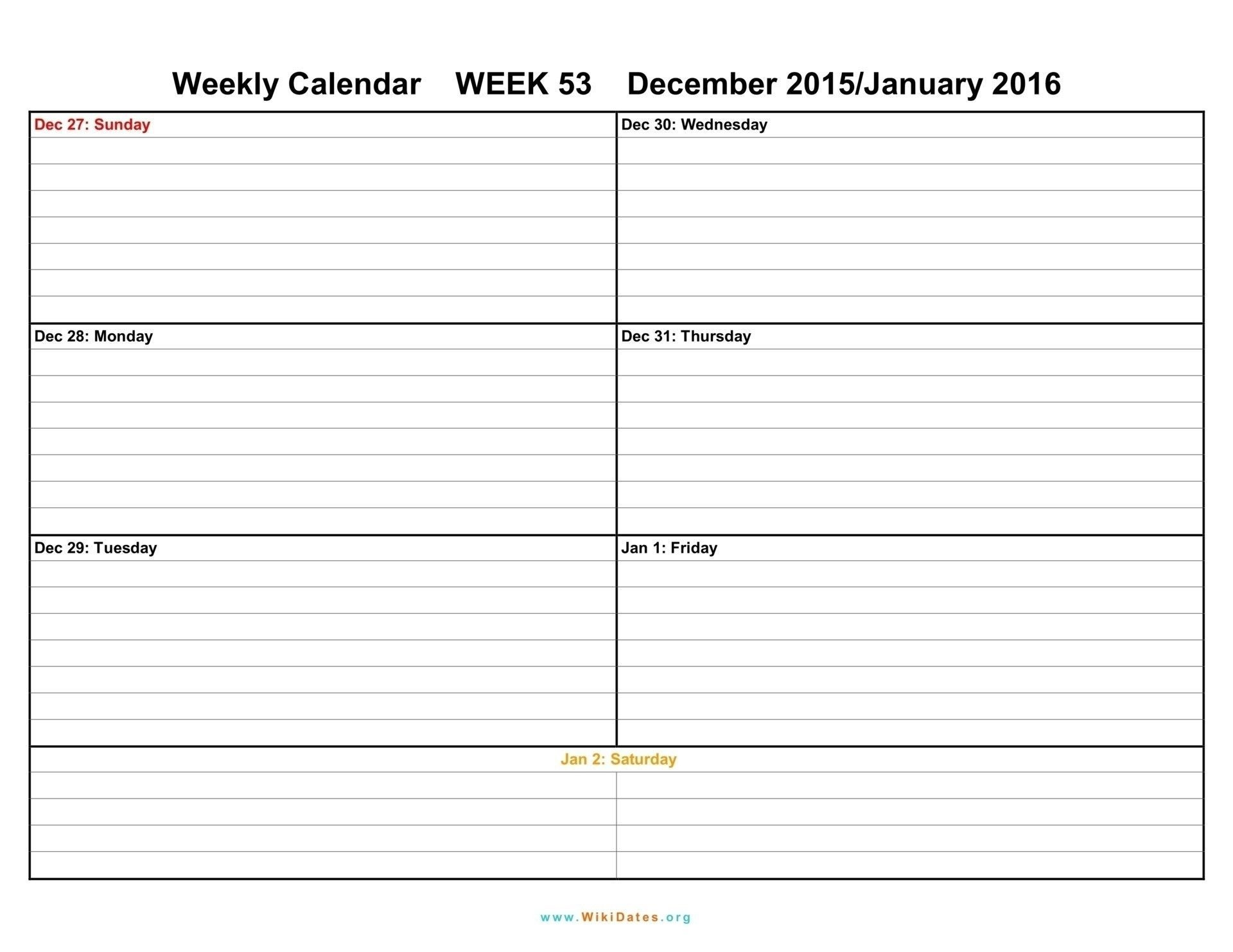 Two Weeks Calendar Template Week Blank Printable Weekly
