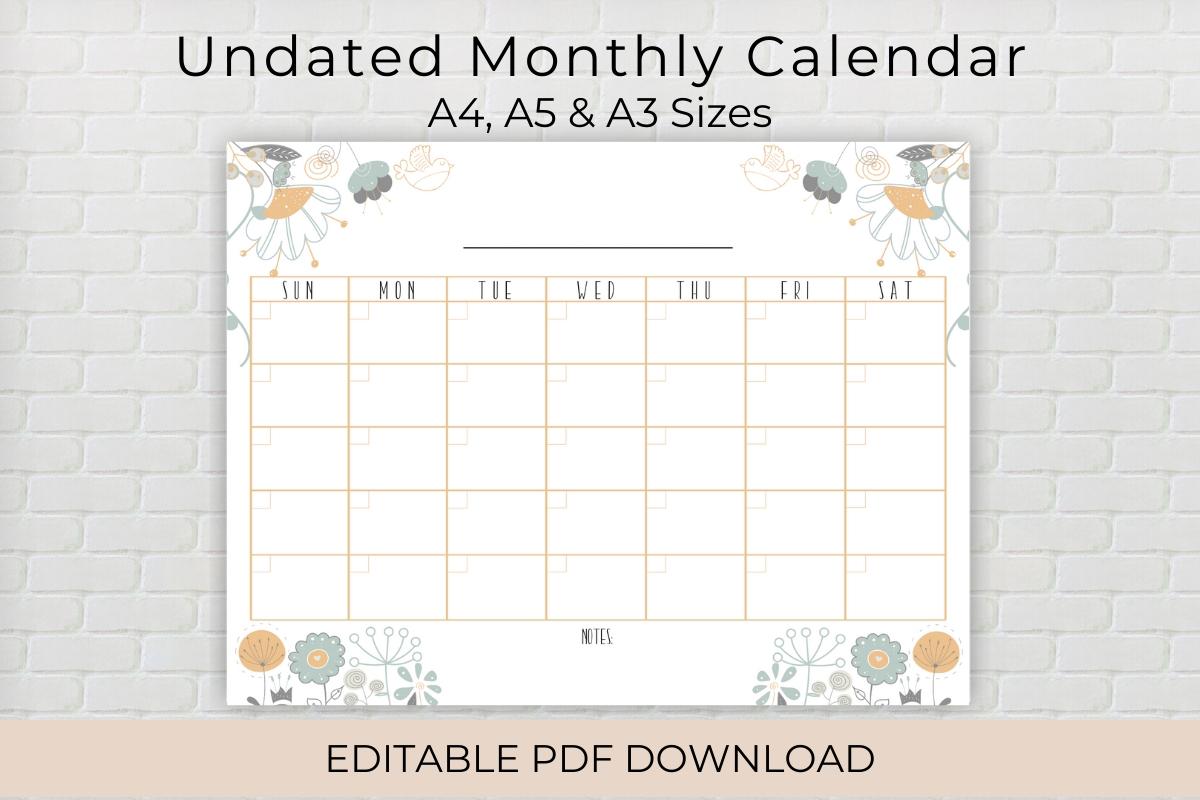 undated editable monthly calendar