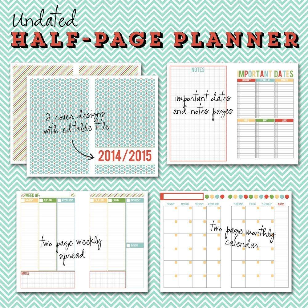 undated halfpage printable planner 5 1/2 x 8 1/2