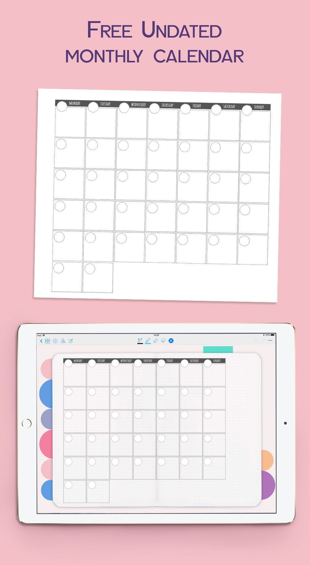 Undated Monthly Calendar For Goodnotes #goodnotesfreebie