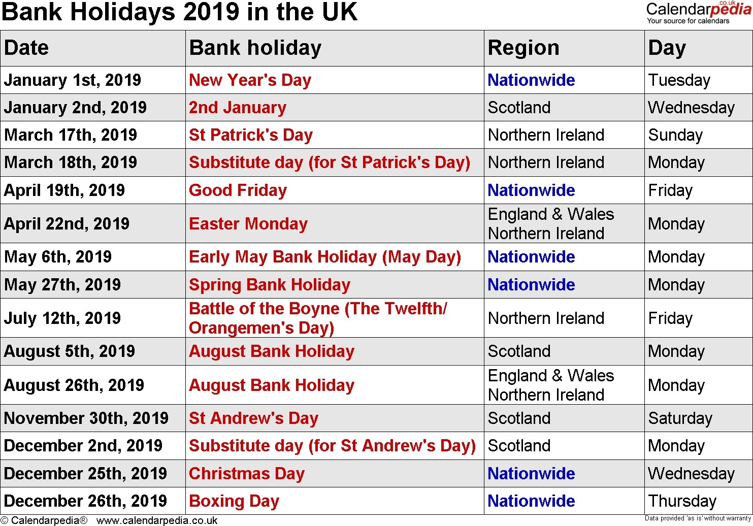 unique 2019 calendar with bank holidays printable | free