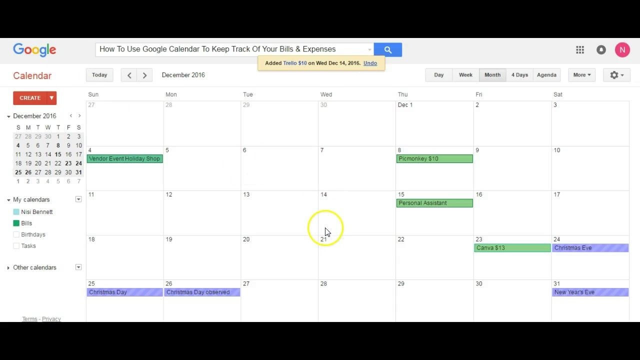 Use Google Calendar To Keep Track Of Your Bills & Expenses