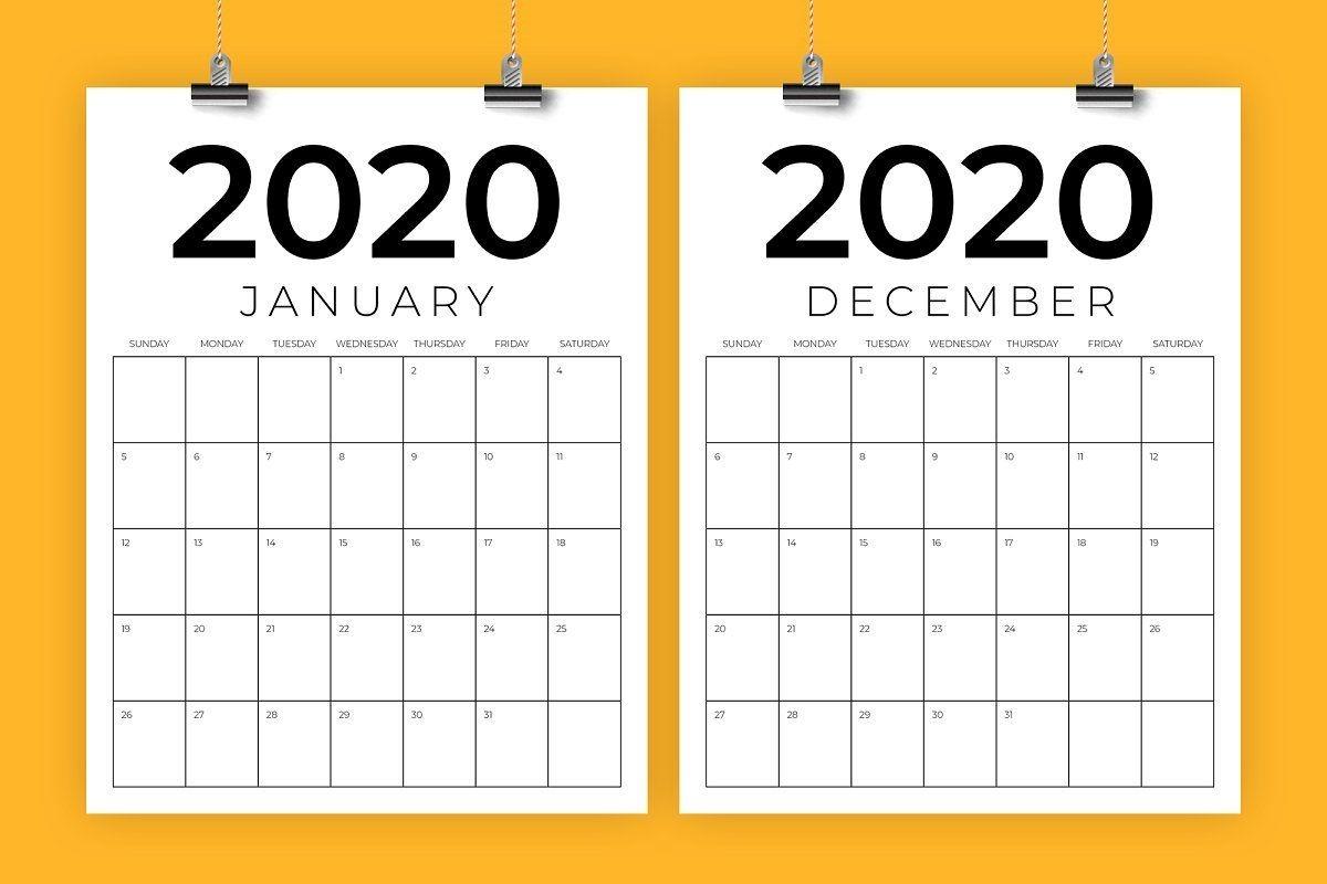 vertical 8 5 x 11 inch 2020 calendar | calendar template