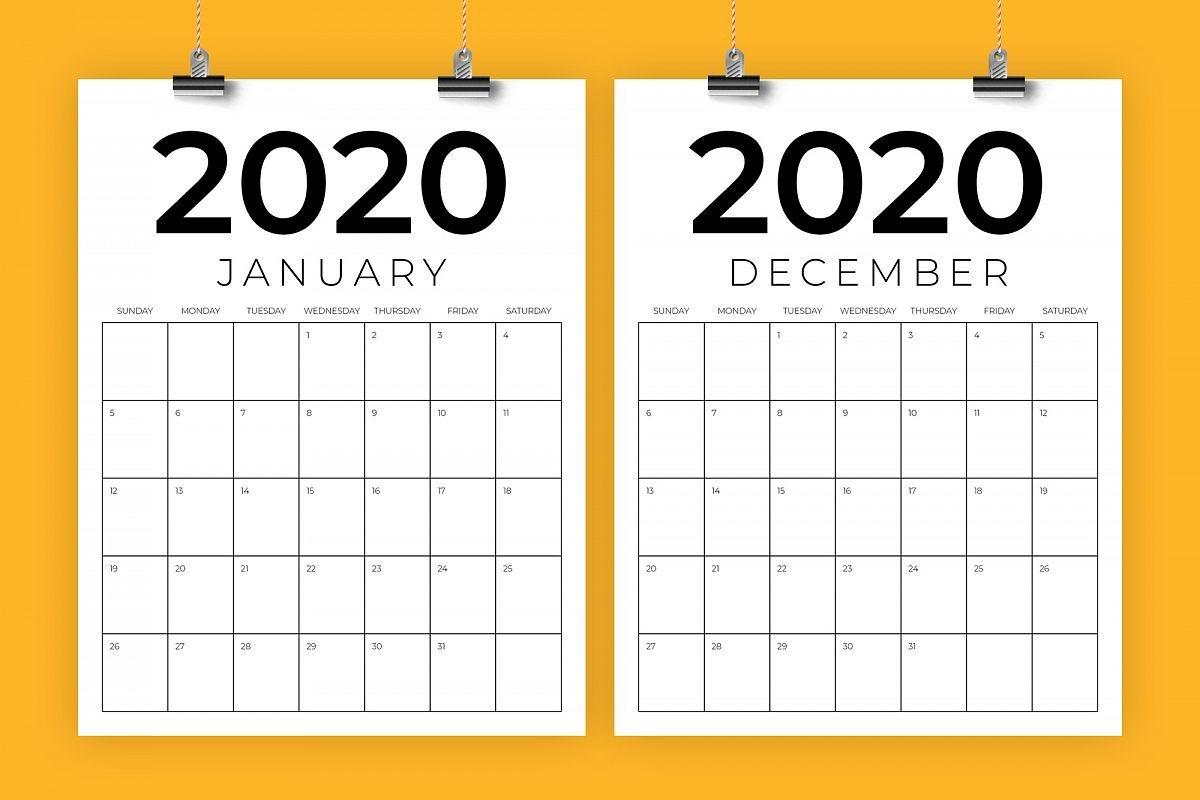 Vertical 8 5 X 11 Inch 2020 Calendar