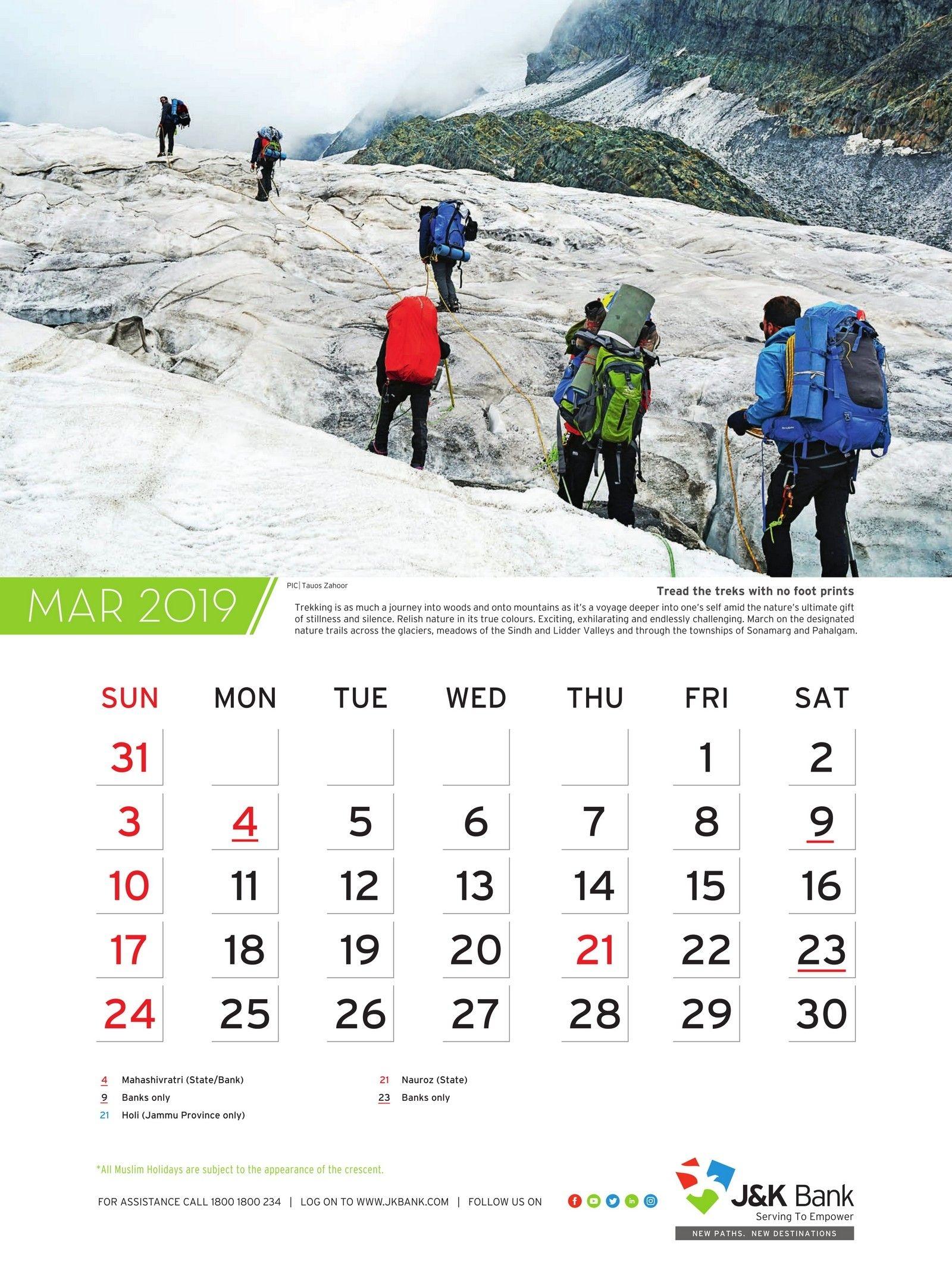 Wall Calendar   Jammu And Kashmir J&k Bank