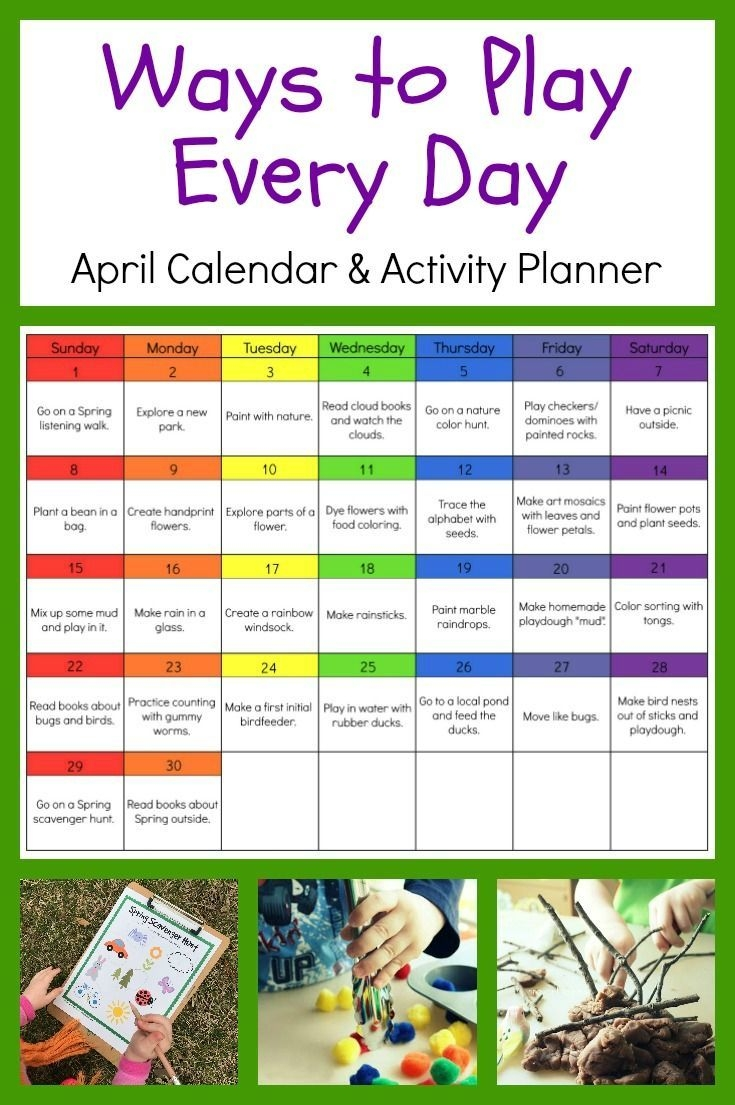 Ways To Play Every Day April Activity Calendar For
