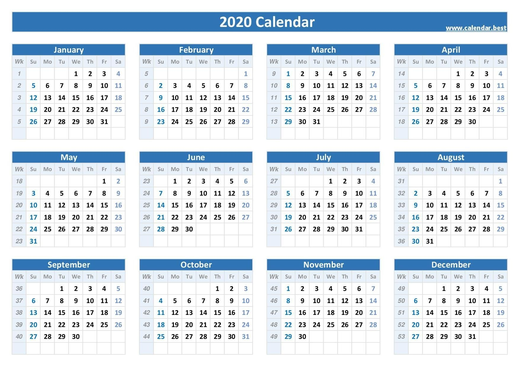 week numbers for 2020 : list and calendar calendar best