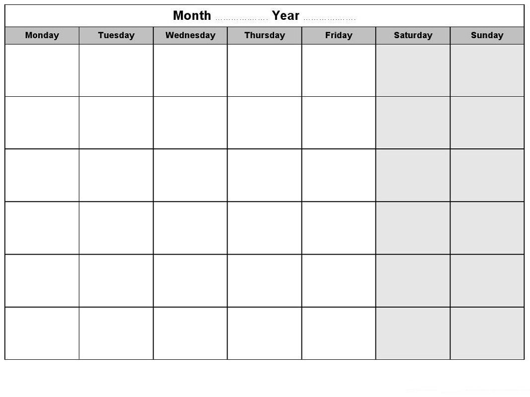Weekly Blank Calendar For Any Purposes | Monthly Calendar
