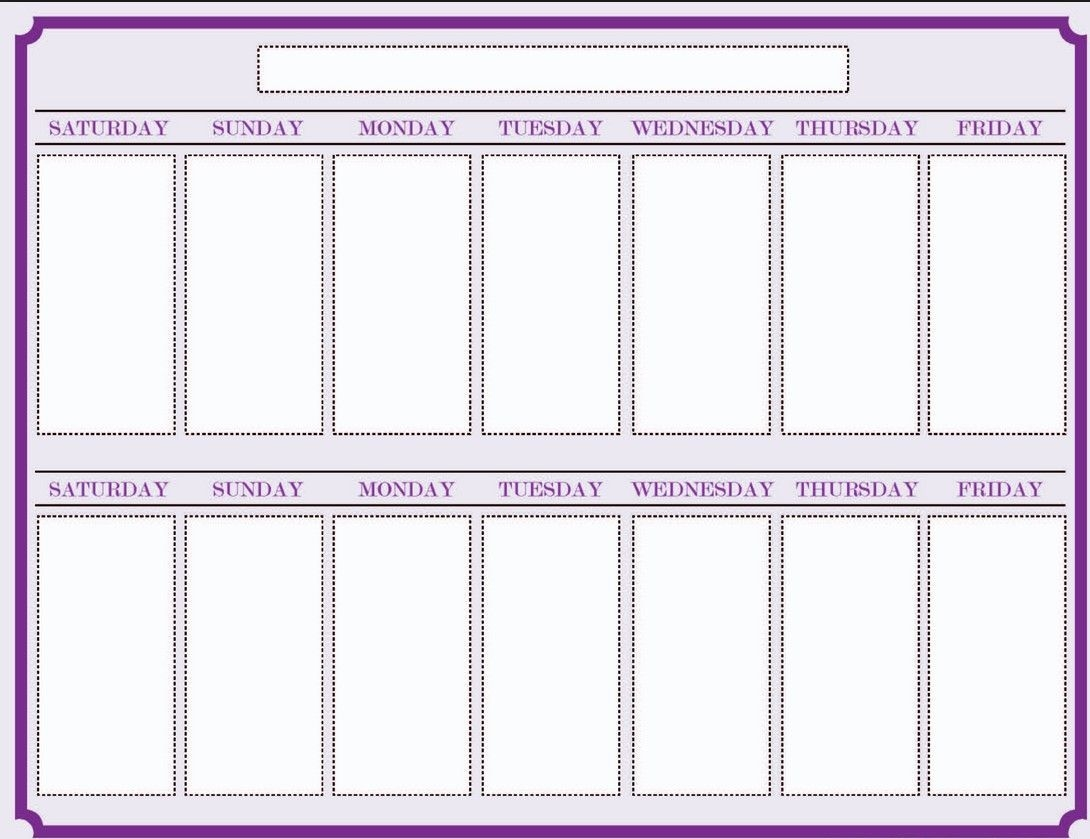 weekly blank calendar template 2 | free weekly calendar