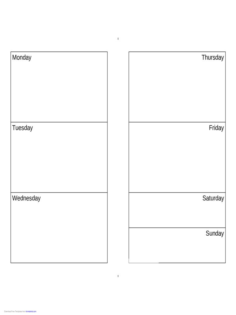 Weekly Calendar (monday Sunday) Edit, Fill, Sign Online