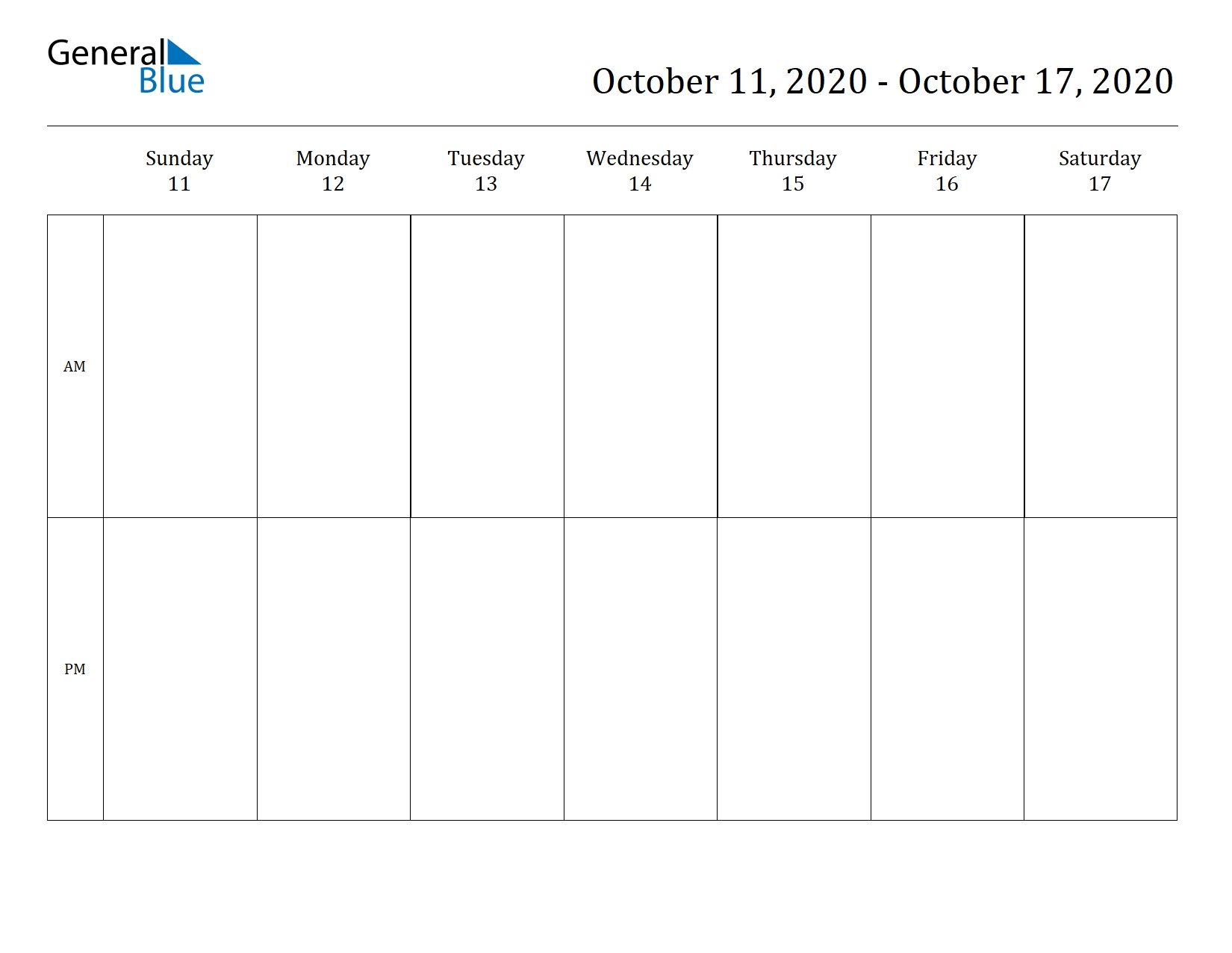 Weekly Calendar October 11, 2020 To October 17, 2020