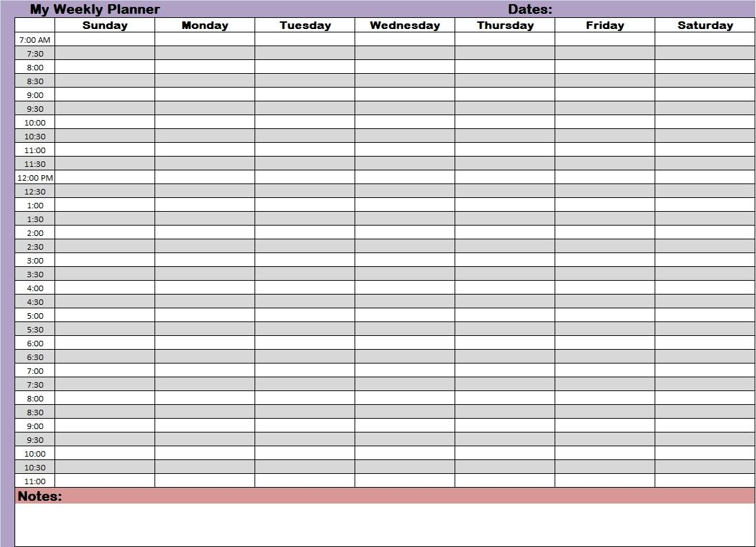 weekly calendar printable time slots pick blank weekly