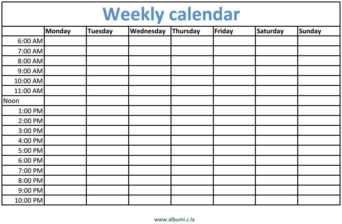 weekly calendars with times printable | daily calendar