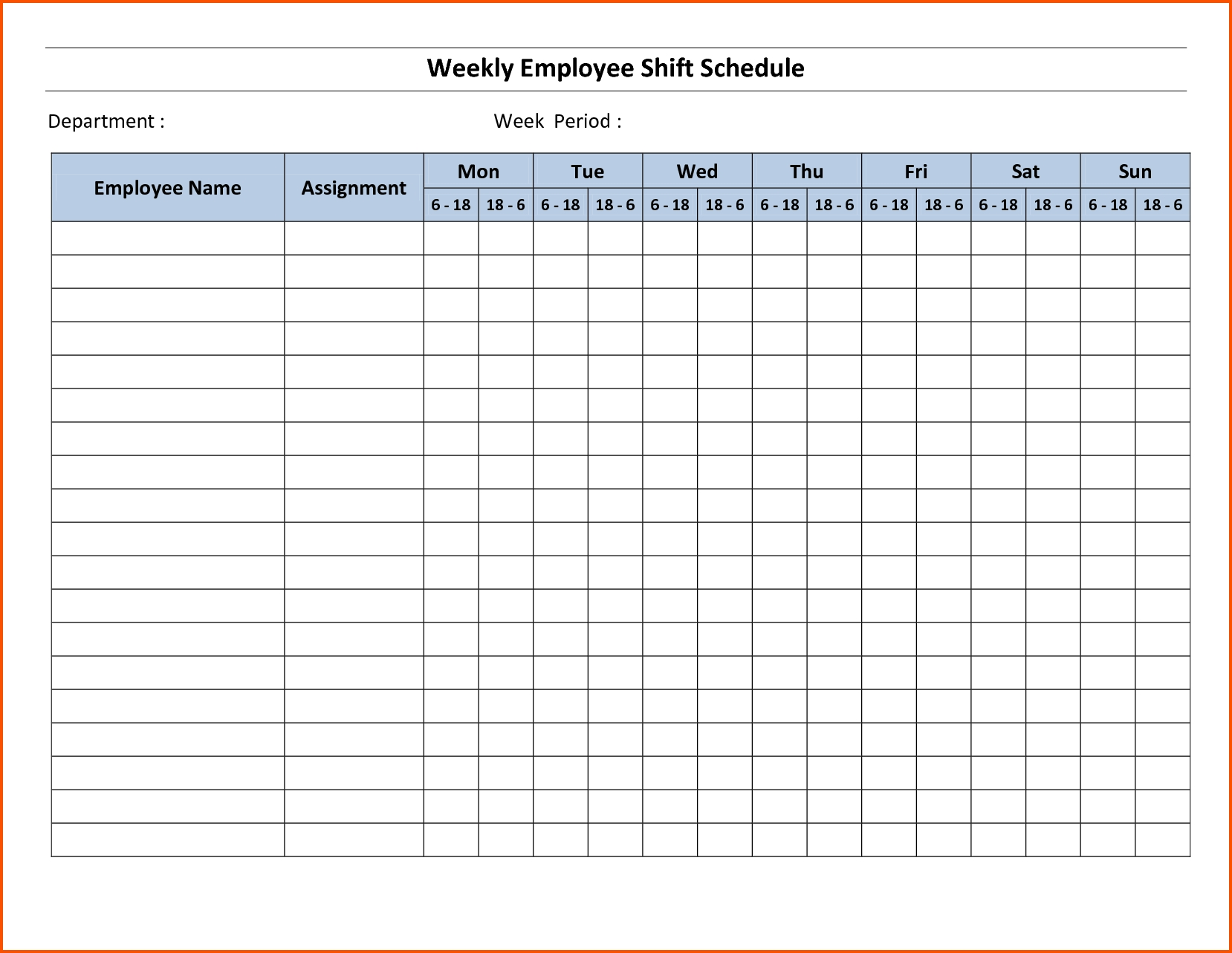 Weekly Employee Schedule Template | Search Results