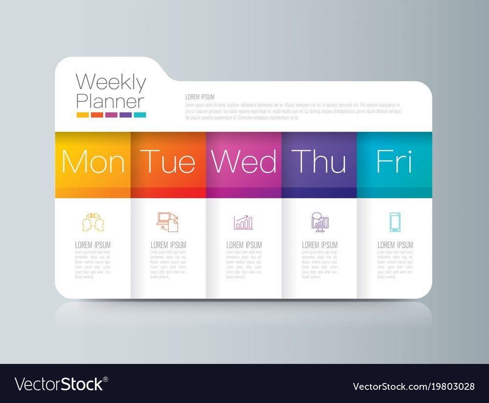 weekly planner monday friday infographics design