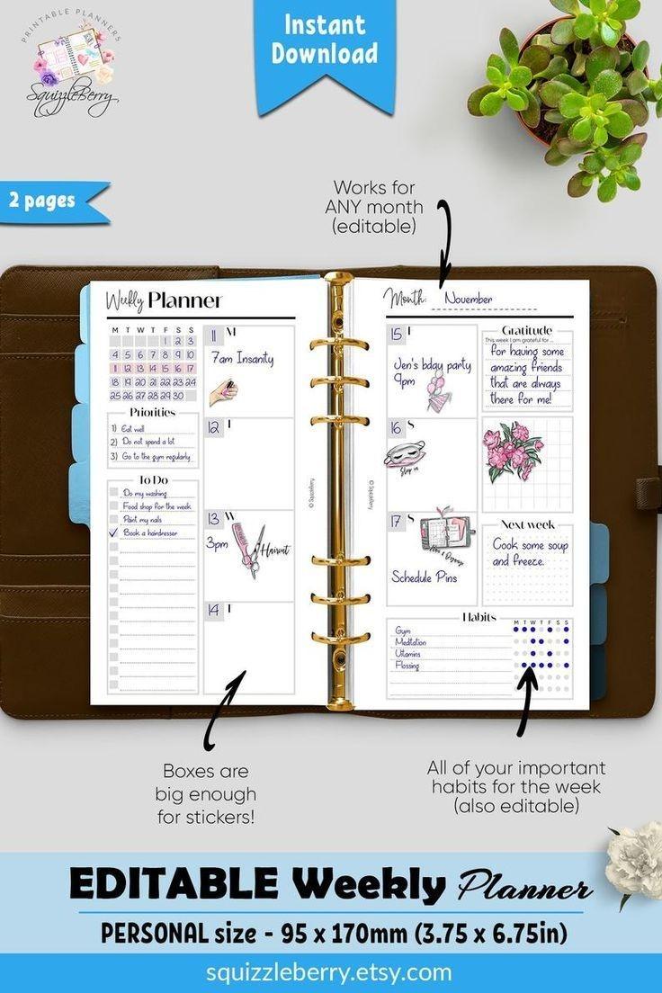 Weekly Planner Printable In Personal Size Weekly Schedule
